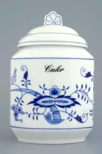 Víko k dóze na poživatiny 1,1 l originální cibulákový porcelán Dubí, cibulový vzor,