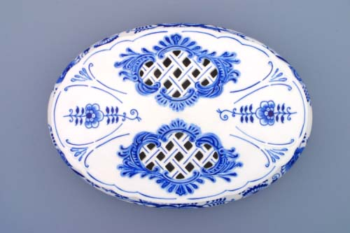 Víko k bonboniéře oválné na 1 kg, 29 cm originální cibulákový porcelán Dubí, cibulový vzor,