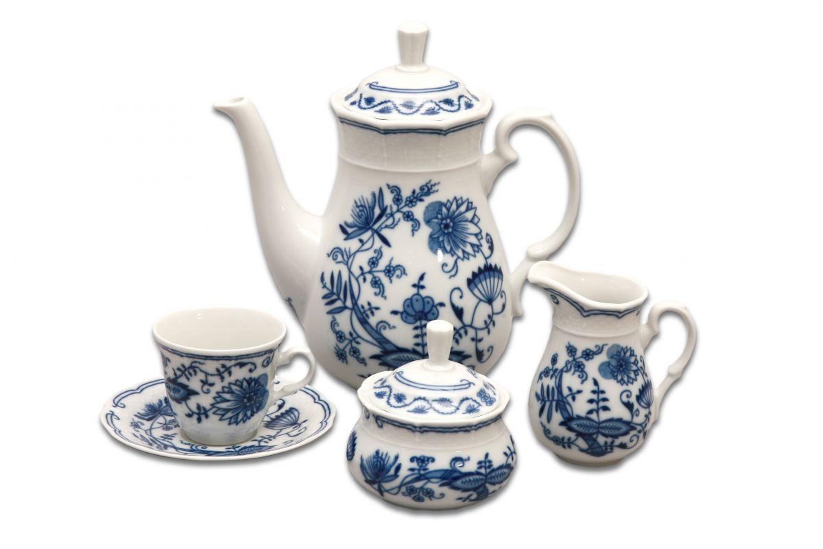 Cibulák kávová souprava Natalie Thun 6 osob 15 dílů cibulákový porcelán Nová Role