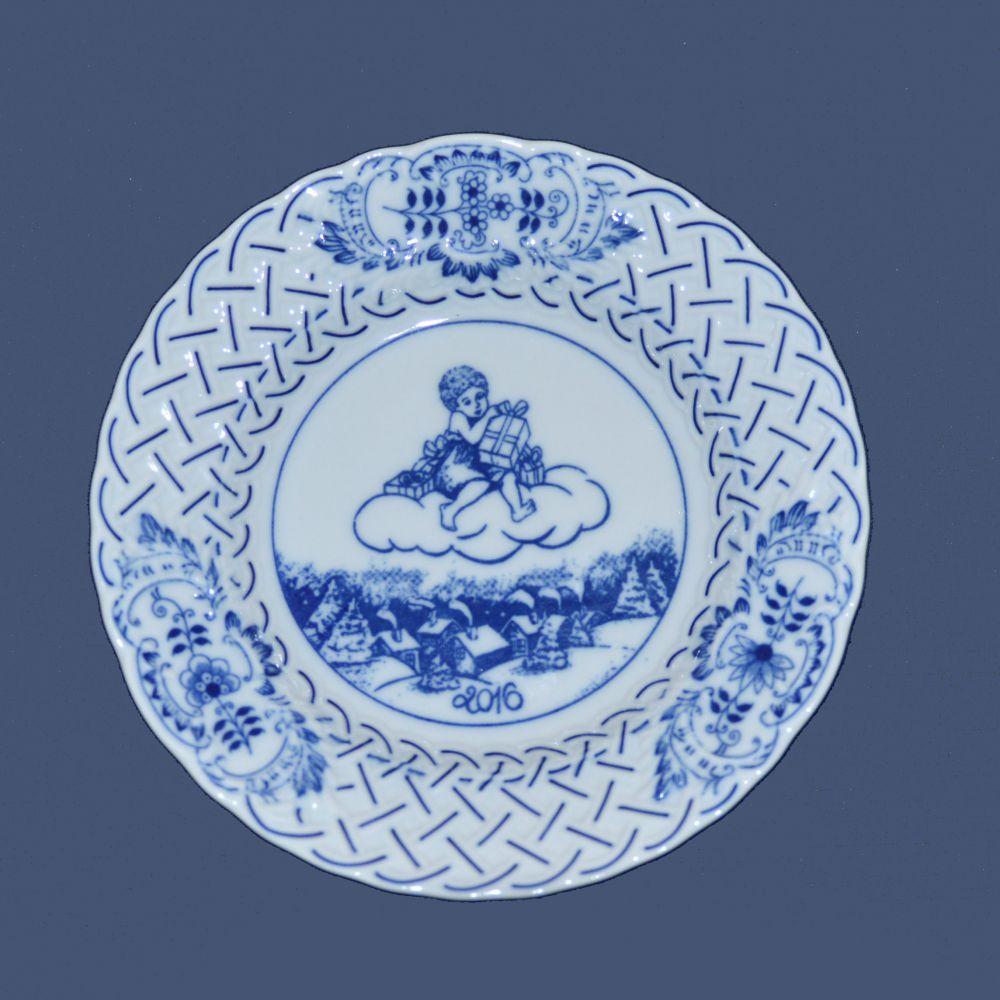 Cibulák výroční talíř 2016, 18 cm originální cibulákový porcelán Dubí , cibulový vzor,