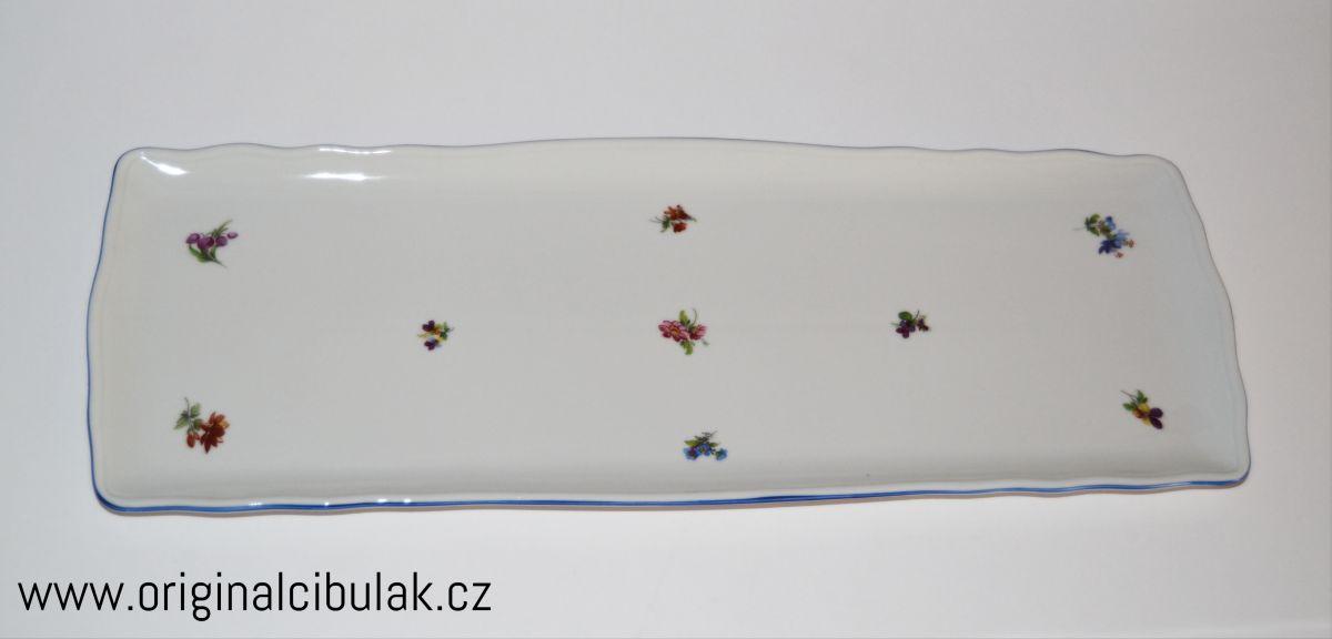 Podnos čtyřhranný 45 cm házenka Rakouská modrá linka porcelán Dubí