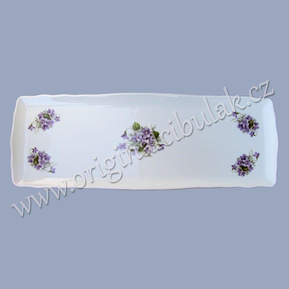 podnos čtyřhranný fialka 45 cm porcelán Dubí fialová linka