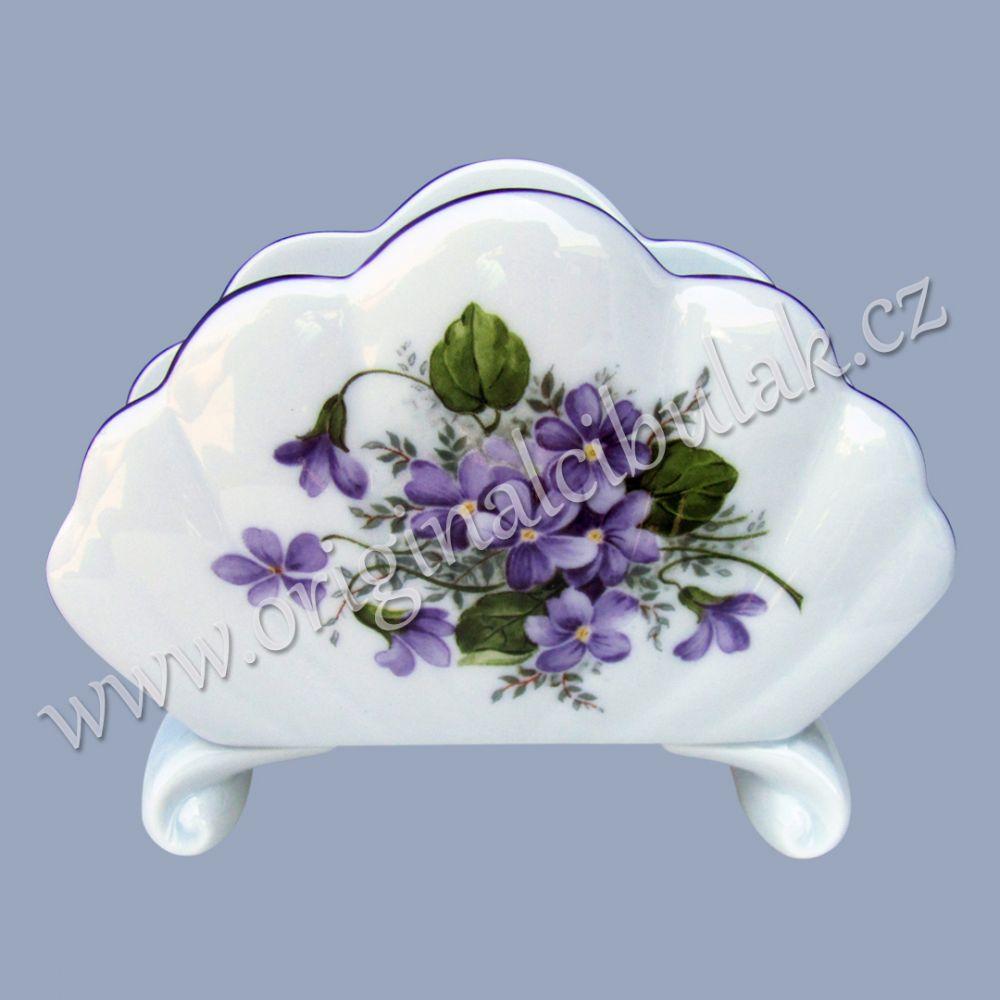 Stojánek na ubrousky fialky 10 cm Český porcelán porcelán Dubí fialová linka