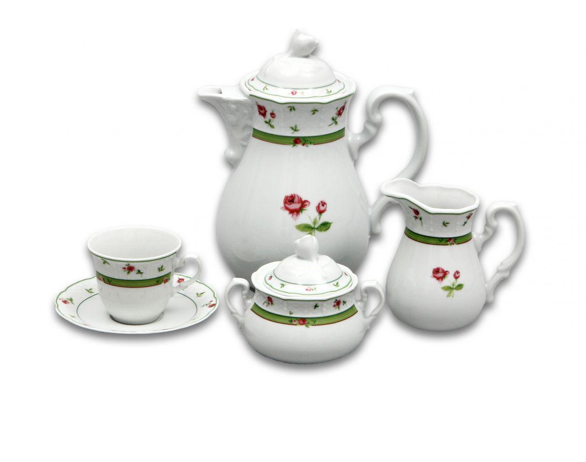 kávová souprava Menuet růže porcelán Thun a.s. 6 osob 15 dílů český porcelán Nová Role