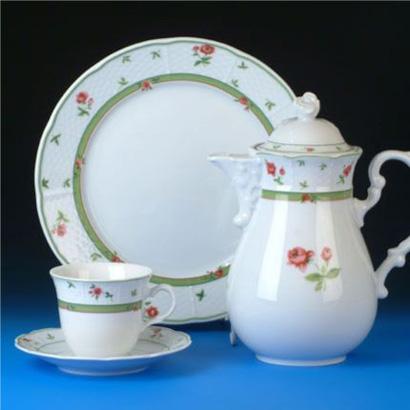 čajová souprava Menuet růže porcelán Thun a.s. 6 osob 15 dílů český porcelán Nová Role
