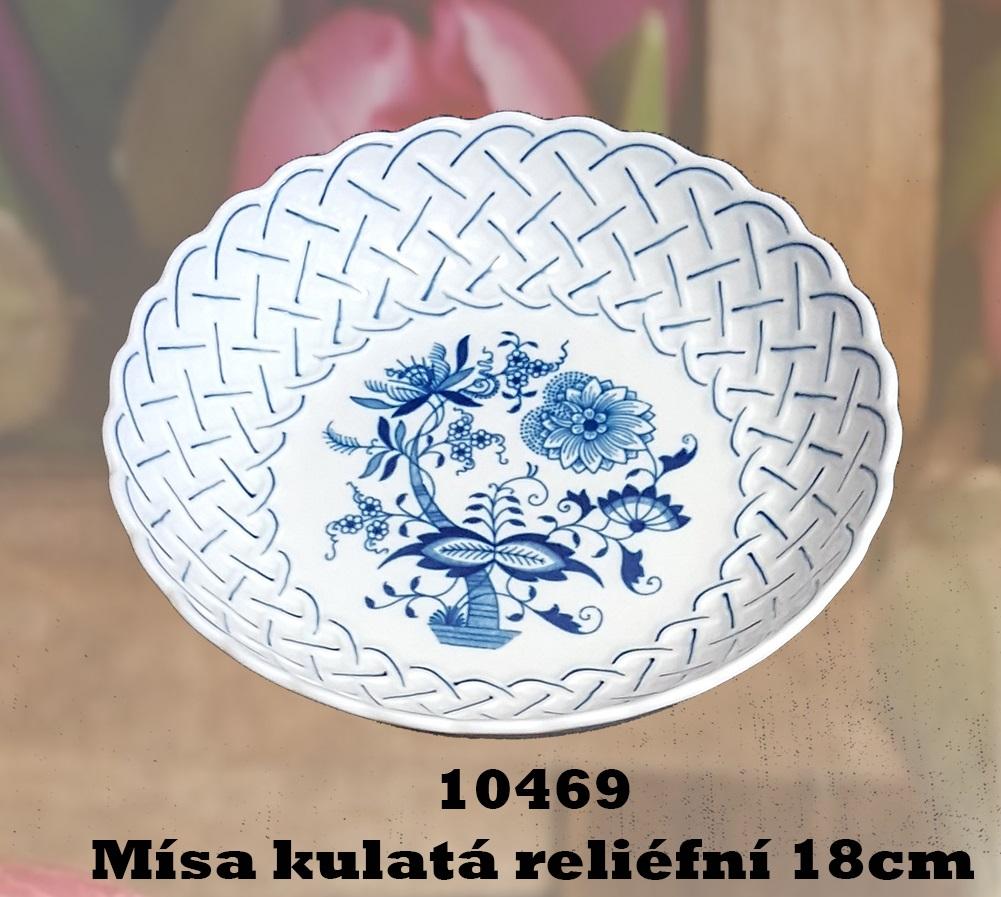 Cibulák Mísa kulatá reliefní 18 cm český porcelán Dubí,