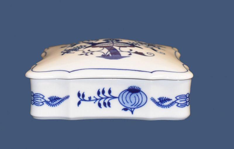doza cibulák čtvercová 15 x 15 cm originální cibulákový porcelán Dubí, cibulový vzor,