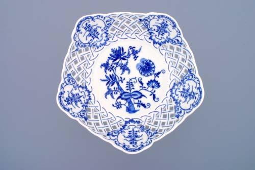 Cibulák Mísa pětihranná prolamovaná na ozdobné noze vysoká 28 cm originální cibulákový porcelán Dubí, cibulový vzor
