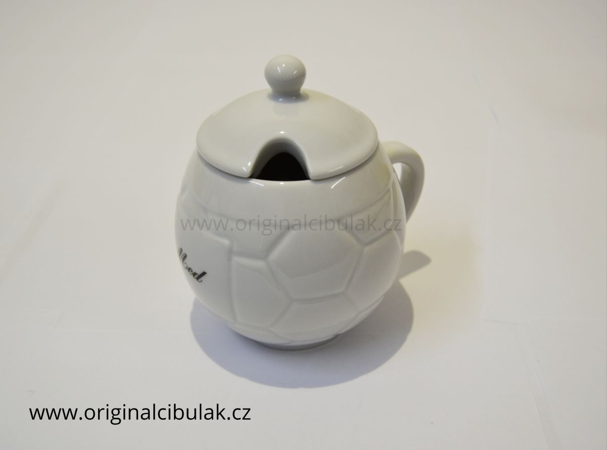 Hrnek na med s víčkem a nápisem Med 0,40 l bílý český porcelán Dubí