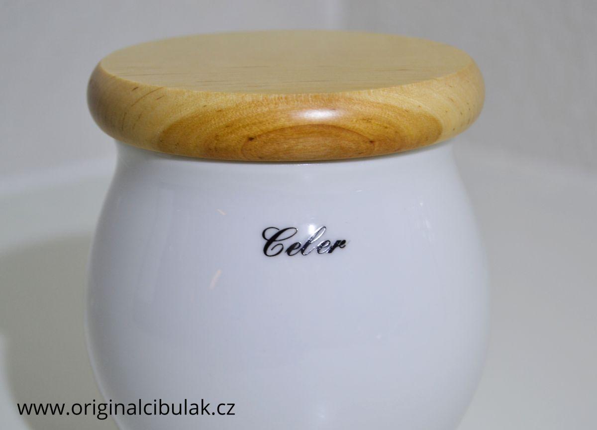 dóza Baňák s dřevěným uzávěrem Celer bílá 10 cm český porcelán Dubí