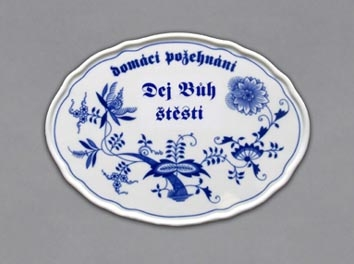 Boží požehnání cibulák Dej bůh štěstí 24 cm originální český porcelán Dubí 2.jakost
