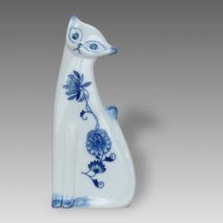 Cibulák Kočka 19 cm originální cibulákový čeký porcelán Dubí