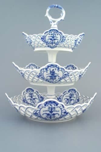 cibulák etažér 3 dílný mísy pětihranné prolamované 36 cm originální český porcelán Dubí