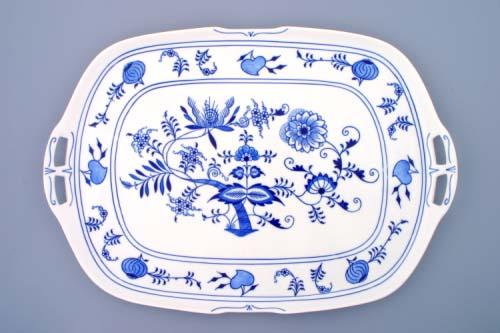 cibulák podnos čtyřhranný s uchy 48 cm originální český porcelán Dubí