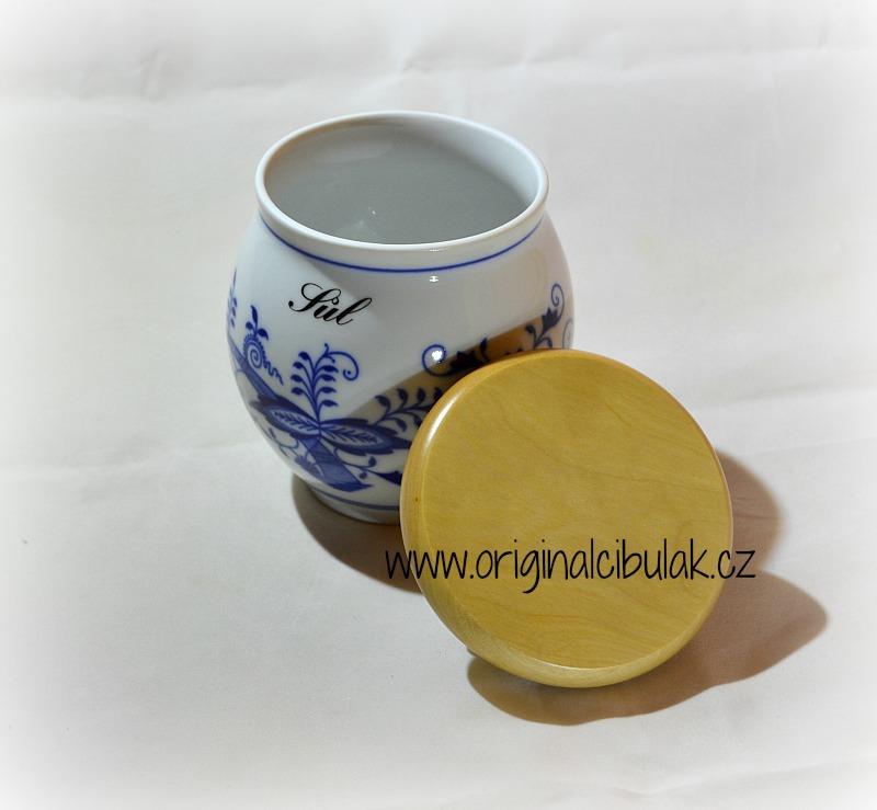 Cibulák dóza Baňák s dřevěným uzávěrem bez nápisu 10 cm originální český porcelán Dubí
