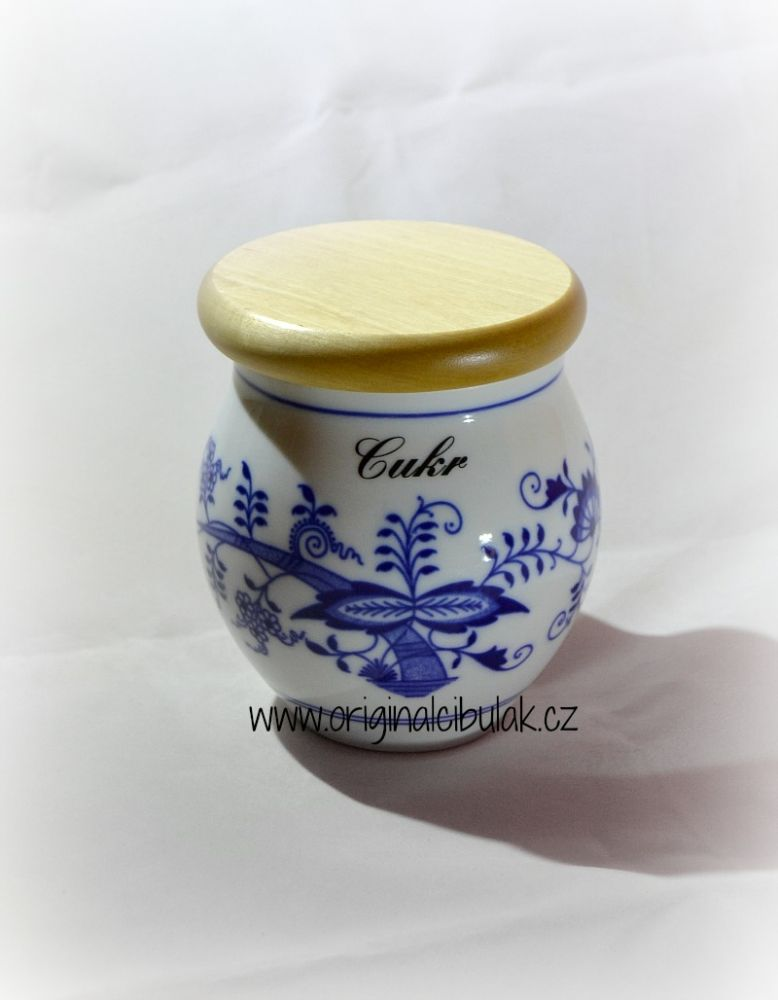 Cibulák dóza Baňák s dřevěným uzávěrem Bobkový list 10 cm originální porcelán Dubí